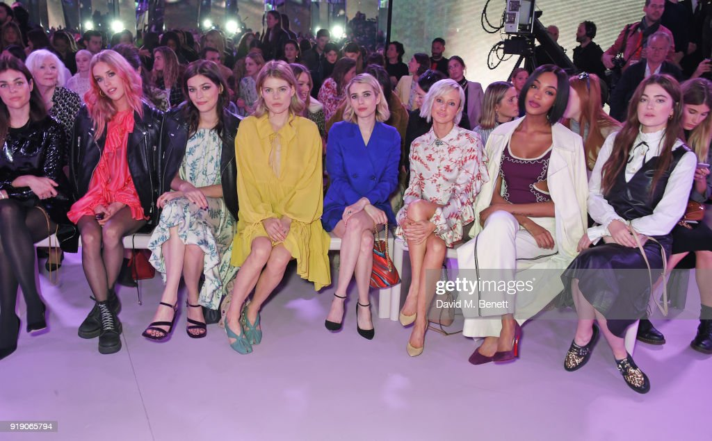 Julia Restoin Roitfeld, Mary Charteris, Amber Anderson, Emma Greenwell, Emma Roberts, Andrea Riseborough, Jourdan Dunn and Millie Brady attend the Mulberry 'Beyond Heritage' SS18 Presentation during London Fashion Week February 2018 at Spencer House on February 16, 2018 in London, United Kingdom.