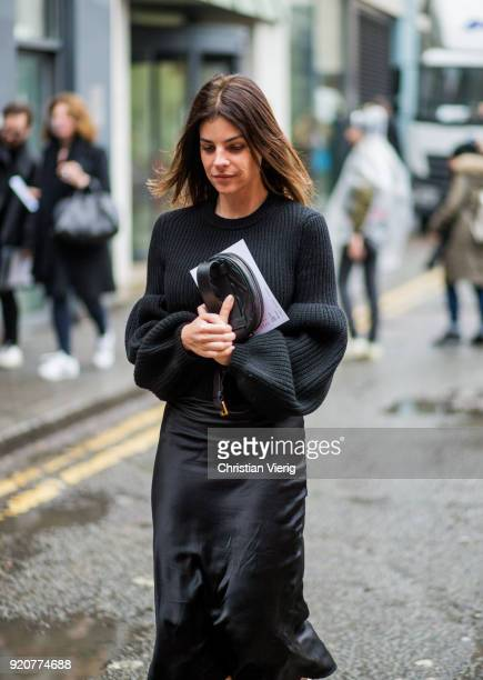 Julia Restoin Roitfeld seen outside Marques Almeida during London Fashion Week February 2018 on February 19, 2018 in London, England.