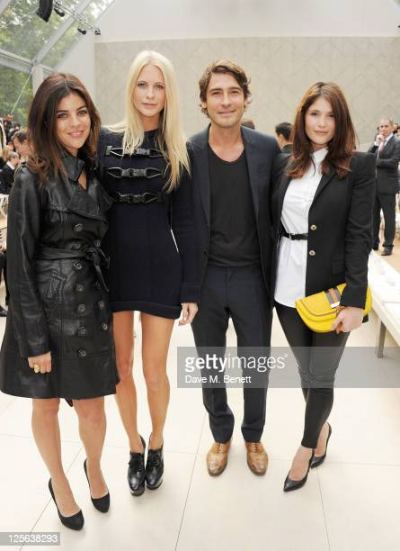 Julia RestoinRoitfled Poppy Delevingne Robert Konjic and Gemma Arterton attend at the Burberry Spring Summer 2012 Womenswear Show at Kensington...