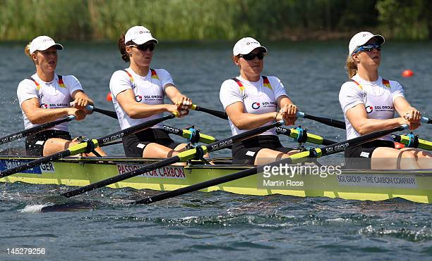 Julia Richter Carina Baer Tina Manker and Stephanie Schiller of Germany row in the women's quadruple sculls during Day 1 of the 2012 Samsung World...
