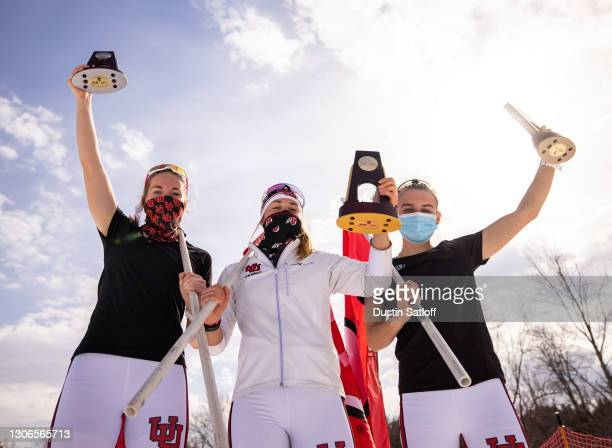 Julia Richter, Sydney Palmer-Leger, and Novie McCabe of the University of Utah pose after sweeping the podium in the women's 5km classic at the NCAA...