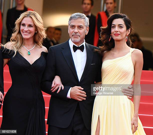Julia Roberts Actor George Clooney and his wife Amal Clooney attends the screening of Money Monster at the annual 69th Cannes Film Festival at Palais...