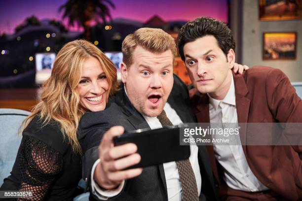 Julia Roberts and Ben Schwartz chat with James Corden during The Late Late Show with James Corden Tuesday October 3 2017 On The CBS Television Network