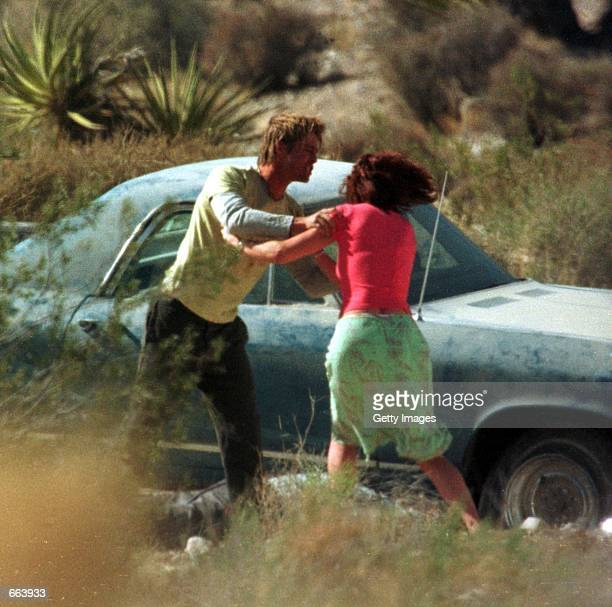 Julia Roberts and Brad Pitt on the set of their upcoming film The Mexican June 7 2000 in Jean NV It was reported July 27 2000 that Pitt will marry...