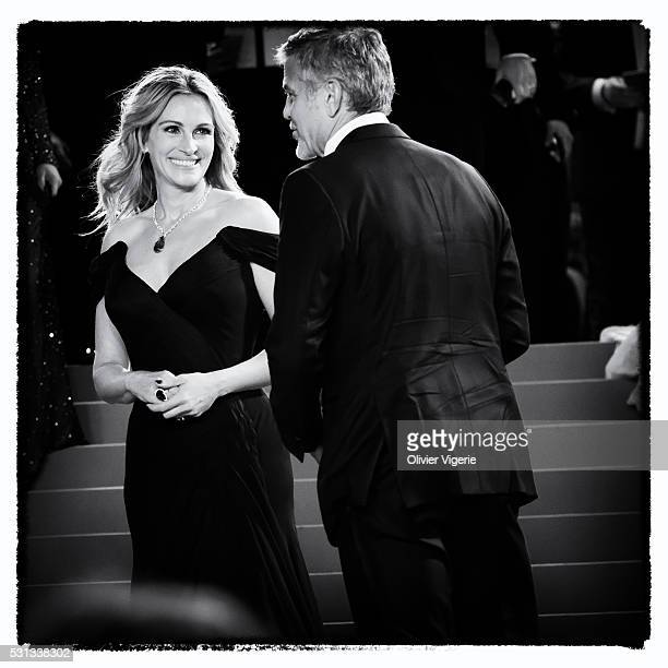 Julia Roberts and George Clooney attend the 'Money Monster' Premiere during the 69th annual Cannes Film Festival on May 12 2016 in Cannes France