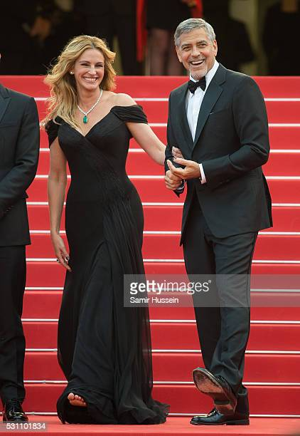 Julia Roberts and George Clooney attend the screening of Money Monster at the annual 69th Cannes Film Festival at Palais des Festivals on May 12 2016...