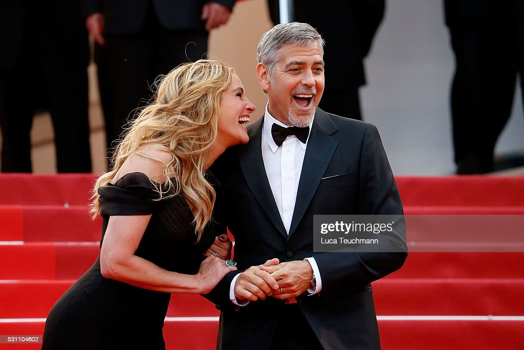 Julia Roberts and George Clooney attend the screening of 'Money Monster' at the annual 69th Cannes Film Festival at Palais des Festivals on May 12, 2016 in Cannes, France.