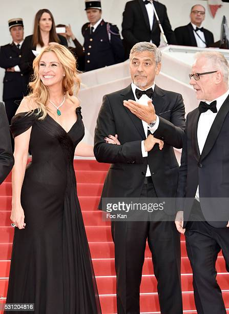 Julia Roberts and George Clooney attend the'Money Monster' premiere during the 69th annual Cannes Film Festival at the Palais des Festivals on May 12...