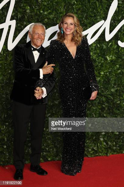 Julia Roberts and Giorgio Armani arrive at The Fashion Awards 2019 held at Royal Albert Hall on December 02 2019 in London England