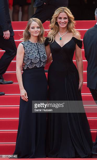 Julia Roberts and Jodie Foster attend the screening of Money Monster at the annual 69th Cannes Film Festival at Palais des Festivals on May 12 2016...