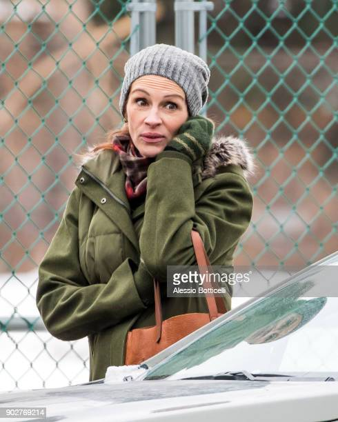 Julia Roberts and Lucas Hedges are seen on location filming 'Ben Is Back' on January 8 2018 in New York New York