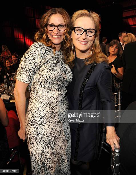 Julia Roberts and Meryl Streep attend the19th Annual Critics' Choice Movie Awards at Barker Hangar on January 16, 2014 in Santa Monica, California.