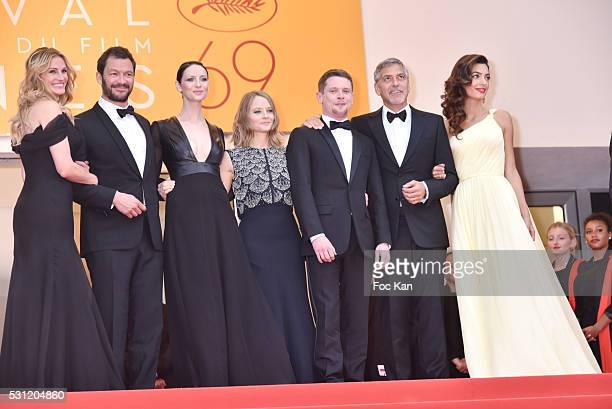 Julia Roberts Dominic West Caitriona Balfe producer Jodie Foster actors Jack O'Connell George Clooney and Amal Clooney attend the'Money Monster'...