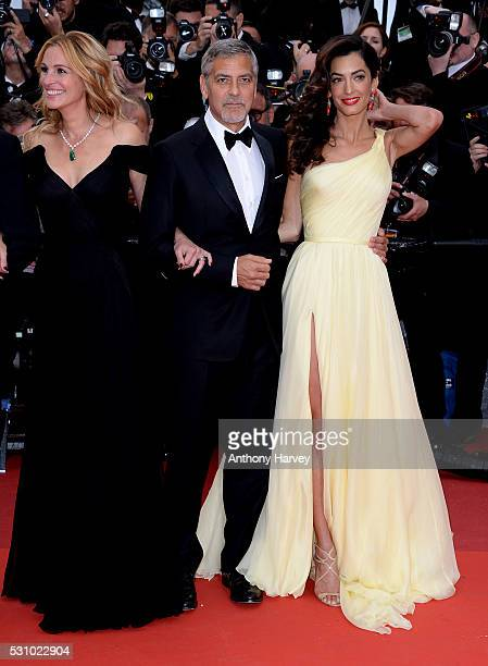Julia Roberts, George Clooney and Amal Clooney attend the 'Money Monster' premiere during the 69th annual Cannes Film Festival at the Palais des...