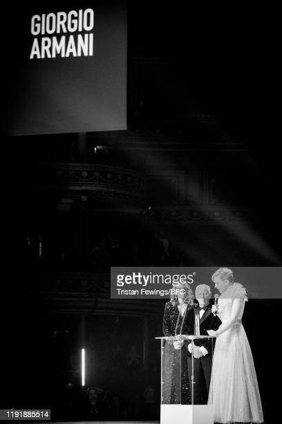 Julia Roberts Giorgio Armani Winner of the Outstanding Achievement Award and Cate Blanchett on stage during The Fashion Awards 2019 held at Royal...
