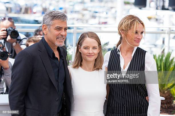 Julia Roberts Jodie Foster and George Clooney attend the 'Money Monster' Photocall during the 69th annual Cannes Film Festival on May 12 2016 in...