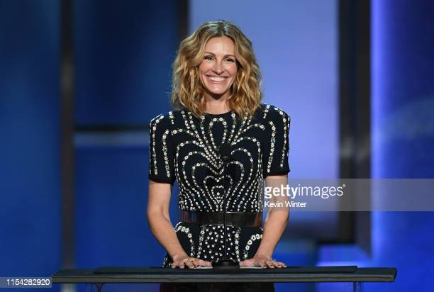 Julia Roberts speaks onstage during the 47th AFI Life Achievement Award honoring Denzel Washington at Dolby Theatre on June 06 2019 in Hollywood...