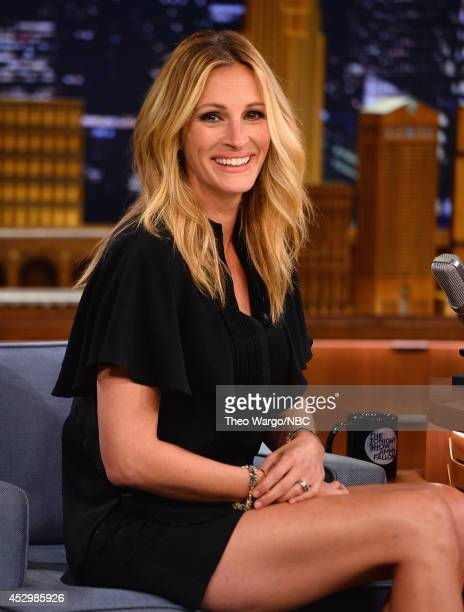 "Julia Roberts visits ""The Late Show Starring Jimmy Fallon"" at Rockefeller Center on July 31, 2014 in New York City."