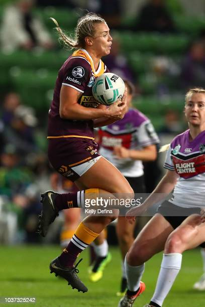 Julia Robinson of the Broncos catches the ball during the round three NRLW match between the Brisbane Broncos and the New Zealand Warriors at AAMI...
