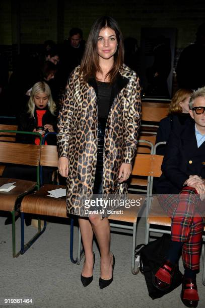 Julia Roitfeld wearing Burberry at the Burberry February 2018 show during London Fashion Week at Dimco Buildings on February 17 2018 in London England
