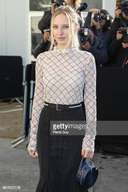 Julia Roy arrives at the Chanel show as part of the Paris Fashion Week Womenswear Spring/Summer 2018 on October 3 2017 in Paris France