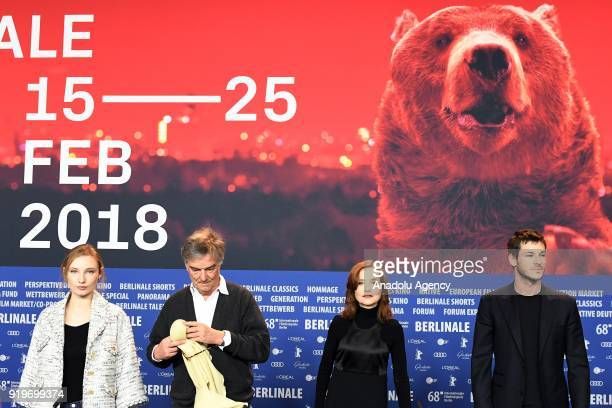 Julia Roy Benoit Jacquot Isabelle Huppert and Gaspard Ulliel pose for a photo at a photocall on the film 'Eva' during the 68th Berlinale...