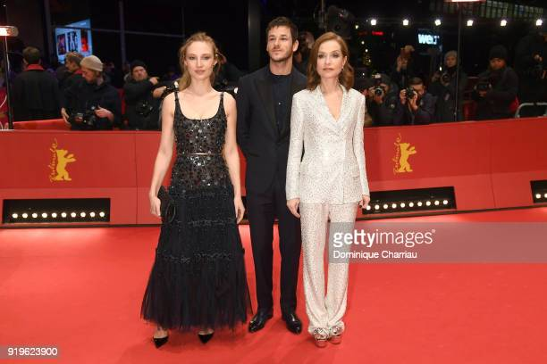 Julia Roy Gaspard Ulliel and Isabelle Huppert attend the 'Eva' premiere during the 68th Berlinale International Film Festival Berlin at Berlinale...