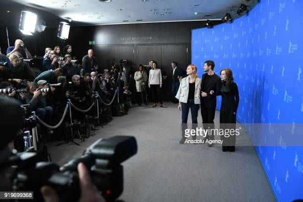 Julia Roy Isabelle Huppert and Gaspard Ulliel pose for a photo at a photocall on the film 'Eva' during the 68th Berlinale International Film Festival...