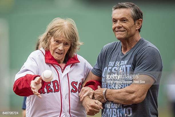 Julia Ruth Stevens daughter of Babe Ruth throws out a ceremonial first pitch before a game between the Boston Red Sox and the Tampa Bay Rays on July...