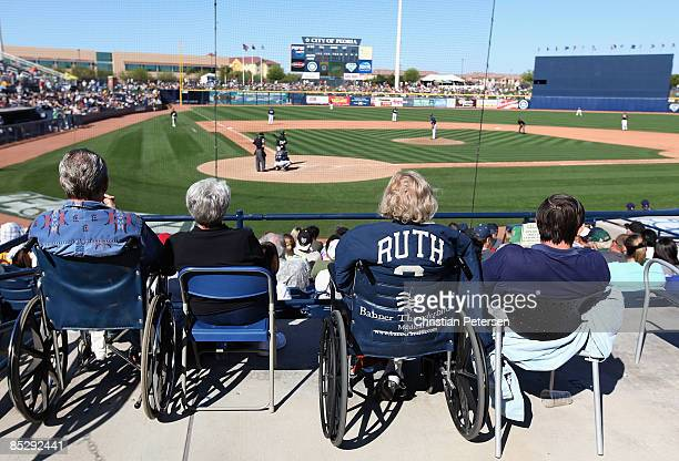 Julia Ruth Stevens daugther of Babe Ruth attends the spring training game between the Oakland Athletics and the San Diego Padres at Peoria Stadium on...