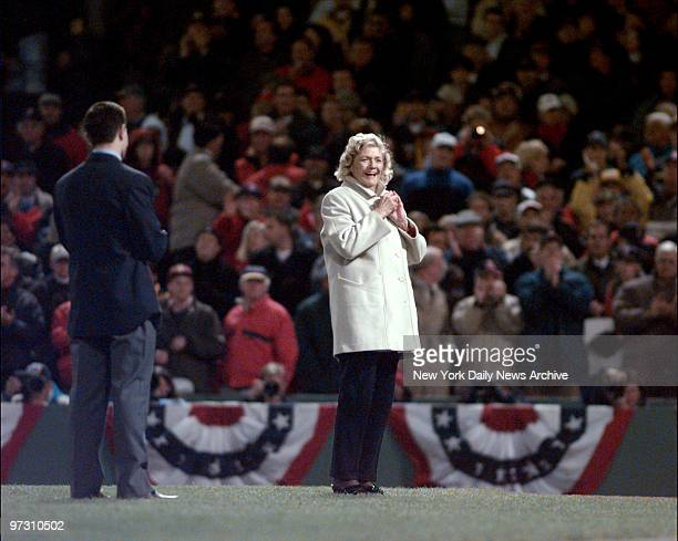 Julia Ruth Stevens stepdaughter of Babe Ruth prepares to throw out the first pitch and root for the Boston Red Sox to end their past misfortunes...