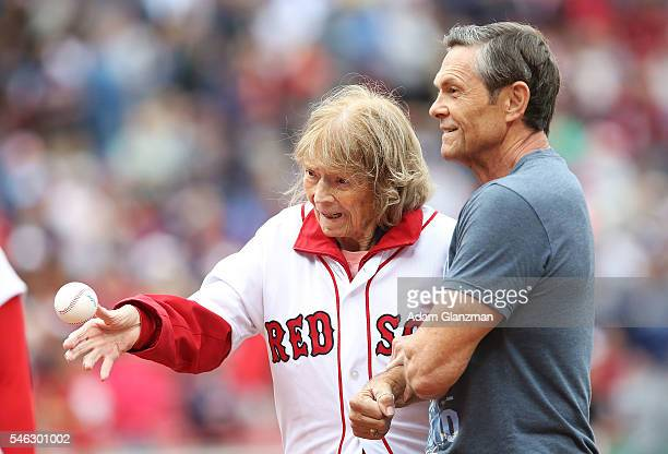 Julia Ruth Stevens the daughter of Babe Ruth throws out a ceremonial first pitch on July 9 2016 at Fenway Park in Boston Massachusetts