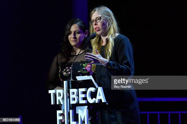 Julia Rybak and Jetmira Gjini speak onstage at 'Time's Up' during the 2018 Tribeca Film Festival at Spring Studios on April 28 2018 in New York City