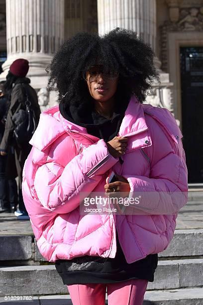 Julia SarrJamois is seen arriving at Maison Margiela during Paris Fashion Week Womenswear Fall Winter 2016/2017 on March 2 2016 in Paris France