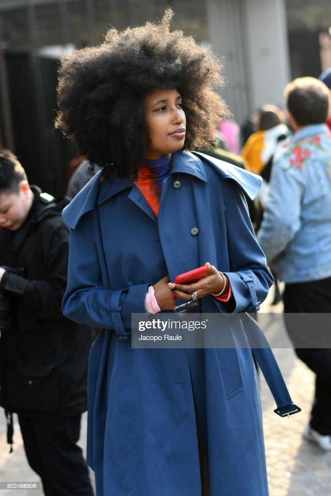 Julia Sarr-Jamois is seen leaving the Gucci show during Milan Fashion Week Fall/Winter 2018/19 on February 21, 2018 in Milan, Italy.