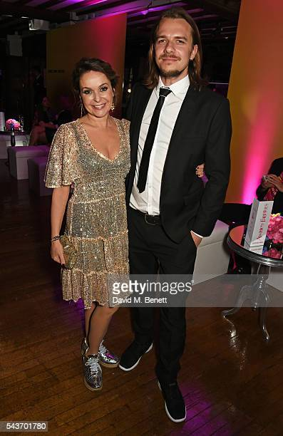 Julia Sawalha and Luke Hollingworth attend the World Premiere after party of Absolutely Fabulous The Movie at Liberty on June 29 2016 in London...