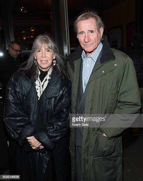 "Julia Schafler and Jim Dale attend ""Noises Off"" Broadway opening night at American Airlines Theatre on January 14, 2016 in New York City."