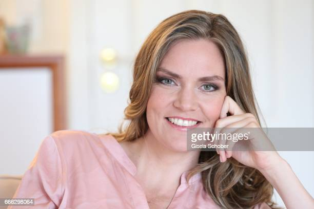 Julia Scharf 'ARD Sportschau' sport moderator poses during a photo session on April 3 2017 in Munich Germany