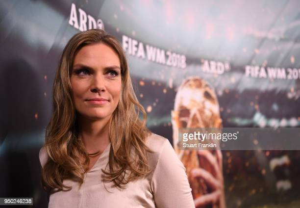 Julia Scharf poses for a picture during the ARD and ZDF FIFA World Cup presenter team presentation on April 23 2018 in Hamburg Germany