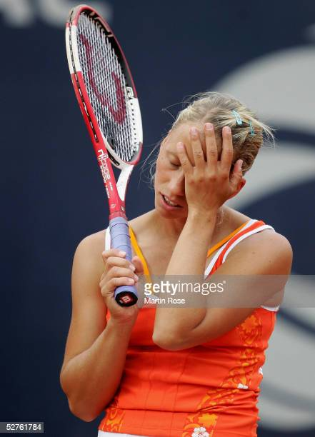 Julia Schruff of Germany looks dejected after loosing the match against Jelena Jankovic of Serbia during the Qatar Total German Open on May 5 2005 in...