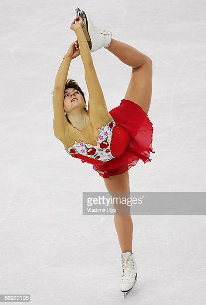 Julia Sebestyen of Hungary performs during the women's Free Skating program of figure skating during Day 13 of the Turin 2006 Winter Olympic Games on...