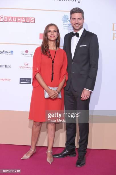 Julia Sen and Ingo Zamperoni attend the Deutscher Radiopreis at Schuppen 52 on September 6 2018 in Hamburg Germany