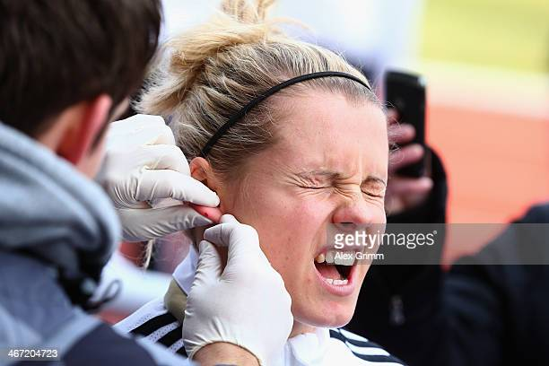 Julia Simic attends a performance test of the German women's national team at Sporthochschule on February 6 2014 in Cologne Germany