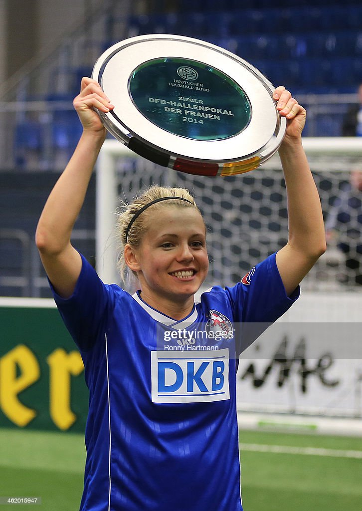 Julia Simic of 1. FFC Turbine Potsdam 1971 celebrates after winning the DFB Women's Indoor Cup 2013 final between 1. FFC Turbine Potsdam 1971 and 1. FFC Frankfurt at GETEC-Arena on January 12, 2014 in Magdeburg, Germany.