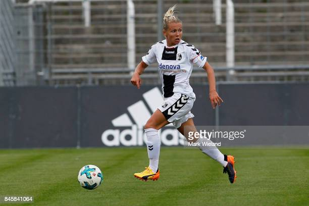 Julia Simic of SC Freiburg in action during the women Bundesliga match between Bayern Muenchen and SC Freiburg at Stadion an der Gruenwalder Strasse...