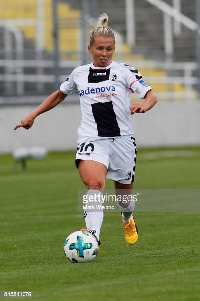 Julia Simic of SC Freiburg in action during the women Bundesliga match between Bayern Muenchen and SC Freiburg at Stadion an der Gruenwalder Strasse...