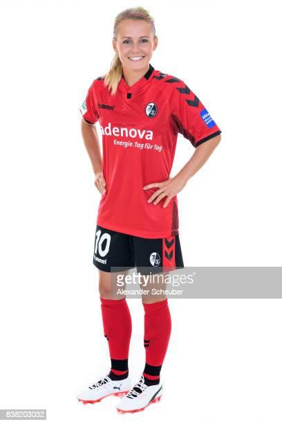 Julia Simic of SC Freiburg poses during the Allianz Frauen Bundesliga Club Tour at Elbigenalp on August 21 2017 in Elbigenalp Austria