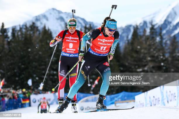 Julia Simon of France competes during the IBU Biathlon World Cup Men's and Women's Pursuit on January 26 2019 in Antholz Anterselva Italy