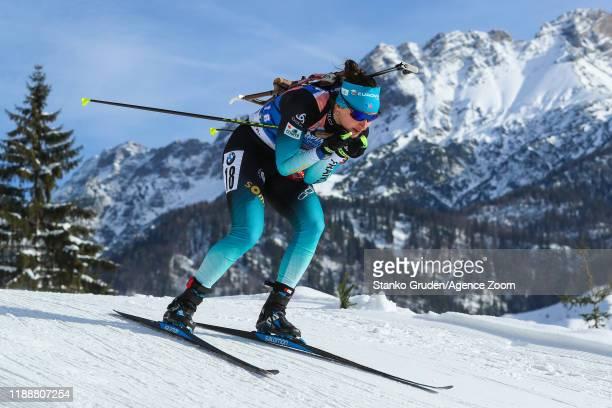 Julia Simon of France in action during the IBU Biathlon World Cup Women's Pursuit on December 15, 2019 in Hochfilzen, Austria.