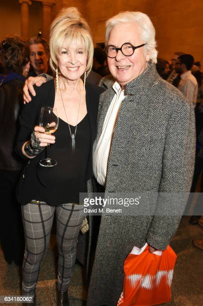 Julia Somerville and Jeremy Dixon attend a private view of the David Hockney retrospective at the Tate Britain on February 7, 2017 in London, England.